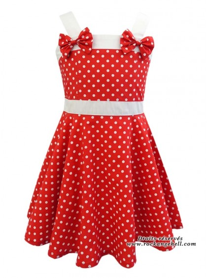 "Robe Enfant Fille Rockabilly Vintage Retro Rock Ange'Hell ""Laura Red White Small dots"" - rockangehell.com"