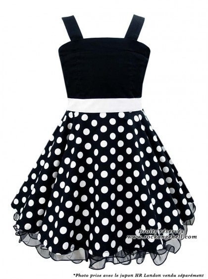 "Robe Enfant Fille Retro Rockabilly Vintage Rock Ange'Hell ""Zoe Black White dots"" - rockangehell.com"
