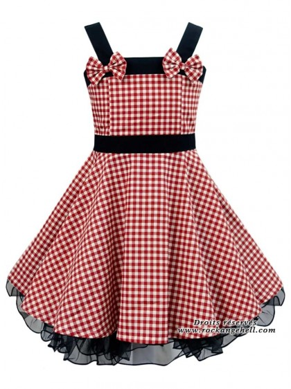 "Robe Enfant Fille Rockabilly Vintage Retro Rock Ange'Hell ""Laura Red Vichy"" - rockangehell.com"