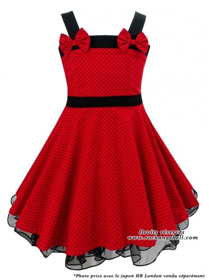 "Robe Enfant Fille Rockabilly Vintage Retro Rock Ange'Hell ""Laura Red Black Small Dots"" - rockangehell.com"