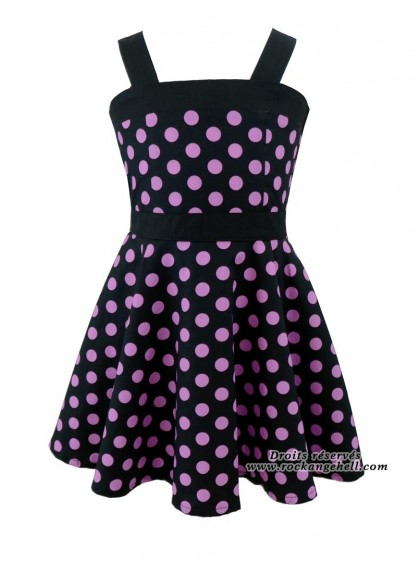 "Robe Enfant Fille Retro Rockabilly Rock Ange'Hell ""Zoe Black Big Parme Dots"" - rockangehell.com"