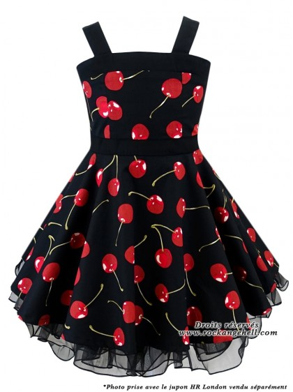 "Robe Enfant Fille Rockabilly Retro Vintage Rock Ange'Hell ""Zoe Black Cherry"" - rockangehell.com"