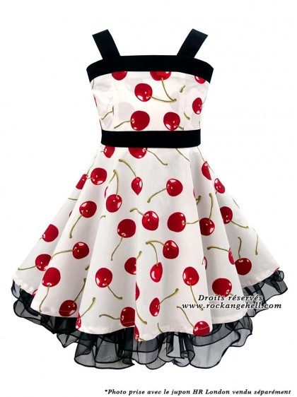 "Robe Enfant Fille Vintage Rockabilly Retro Rock Ange'Hell ""Zoe White Cherry"" - rockangehell.com"