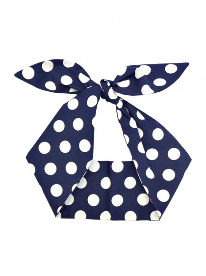 "Foulard Cheveux Pin-Up Rockabilly Retro Rock Ange'Hell ""Dark Blue Big White Dots"" - rockangehell.com"