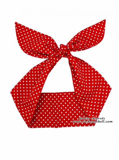 """Foulard Cheveux Pin-Up Rockabilly Retro Rock Ange'Hell """"Red Small White Dots"""" - rockangehell.com"""