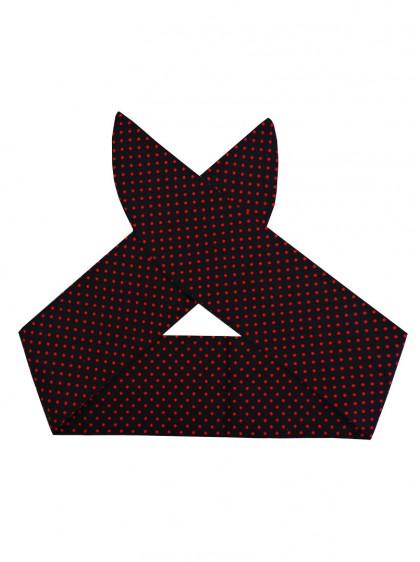 "Foulard Cheveux Pin-Up Rockabilly Retro Rock Ange'Hell ""Black Red mini polka dots"" - rockangehell.com"