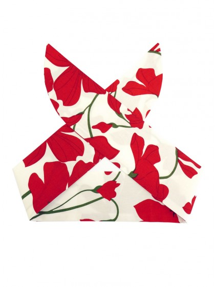 "Foulard Cheveux Pin-Up Rockabilly Vintage Rock Ange'Hell ""Red Flowers"" - rockangehell.com"