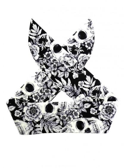 "Foulard Cheveux Rock Gothique Rock Ange'Hell ""White Skulls"" - rockangehell.com"