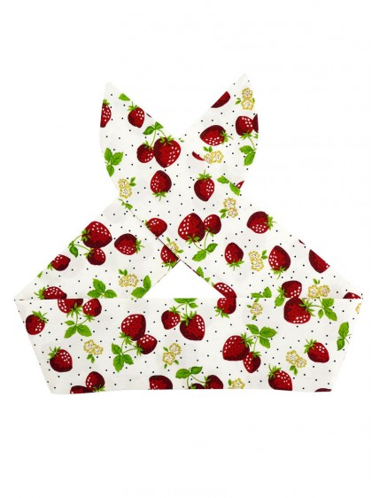 "Foulard Cheveux Pin-Up Rockabilly Retro Fraise Rock Ange'Hell ""Strawberry"" - rockangehell.com"