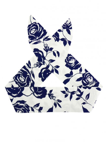 "Foulard Cheveux Années 50 Pin-Up Rockabilly Rock Ange'Hell ""Navy Flowers"" - rockangehell.com"