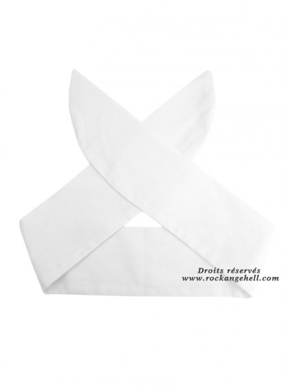 "Foulard Cheveux Rockabilly Vintage Rock Ange'Hell ""Just White"" - rockangehell.com"