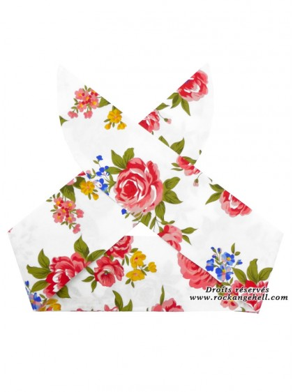 "Foulard Cheveux Retro Vintage Rockabilly Rock Ange'Hell ""Pink Flowers"" - rockangehell.com"