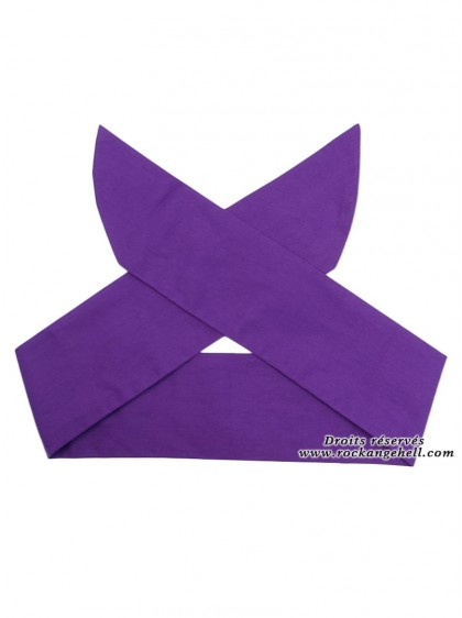 "Foulard Cheveux Rockabilly Pin-Up Rock Ange'Hell ""Purple"" - rockangehell.com"