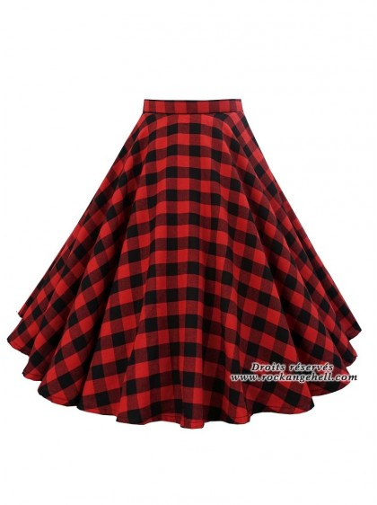 "Jupe Rockabilly Pin-Up Retro Rock Ange'Hell ""Lyna Red Check"" - rockangehell.com"