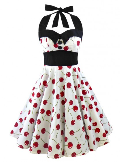 "Robe Retro Pin-Up Rockabilly Rock Ange'Hell ""Ashley White Red Cherry"" - rockangehell.com"