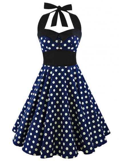 "Robe Pin-Up Rockabilly Vintage Rock Ange'Hell ""Ashley Dark Blue White Big Dots"" - rockangehell.com"
