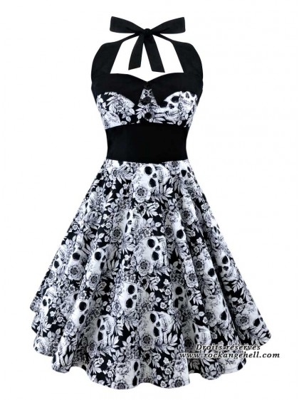 "Robe Rock Gothique Rockabilly Rock Ange'Hell ""Ashley White Skull"" - rockangehell.com"