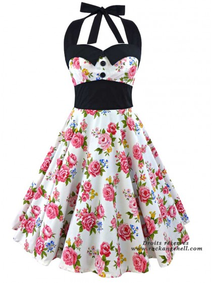 "Robe Années 50 Pin-Up Rockabilly Rock Ange'Hell ""Ashley Pink Flowers"" - rockangehell.com"