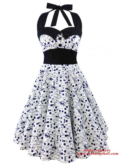 "Robe Rock Rockabilly Retro Swing Rock Ange'Hell ""Ashley Dark Blue Music Note"" - rockangehell.com"