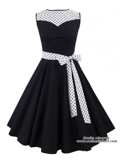 "Robe Pin-Up Années 50 Rockabilly Rock Ange'Hell ""Olivia White Black Dots"" - rockangehell.com"