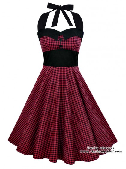 "Robe Rockabilly Pin-Up Retro Swing Rock Ange'Hell ""Ashley Red Black Vichy"" - rockangehell.com"