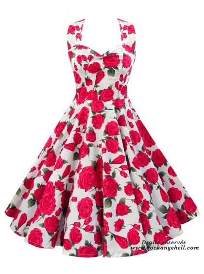 "Robe Pin-Up Années 50 Rockabilly Rock Ange'Hell ""Vivien Red Roses"" - rockangehell.com"