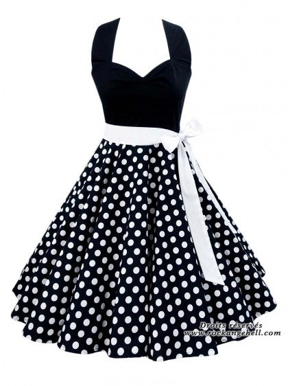 "Robe Rockabilly Retro Pin-Up Rock Ange'Hell ""Vivien Black White Dots"" - rockangehell.com"