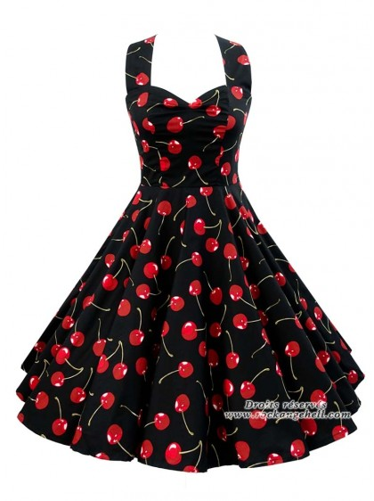 "Robe Retro Pin-Up Années 50 Rock Ange'Hell ""Vivien Black Cherry"" - rockangehell.com"