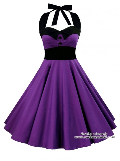 "Robe Rockabilly Rock Gothique Rock Ange'Hell ""Ashley Just Purple"" - rockangehell.com"