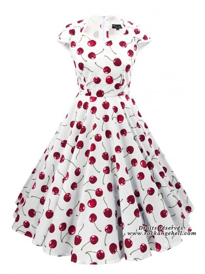 "Robe Vintage Rockabilly Retro Rock Ange'Hell ""Ellen White Red Cherry"" - rockangehell.com"