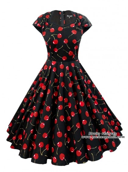 "Robe Retro Vintage Rockabilly Rock Ange'Hell ""Ellen Black Red Cherry"" - rockangehell.com"