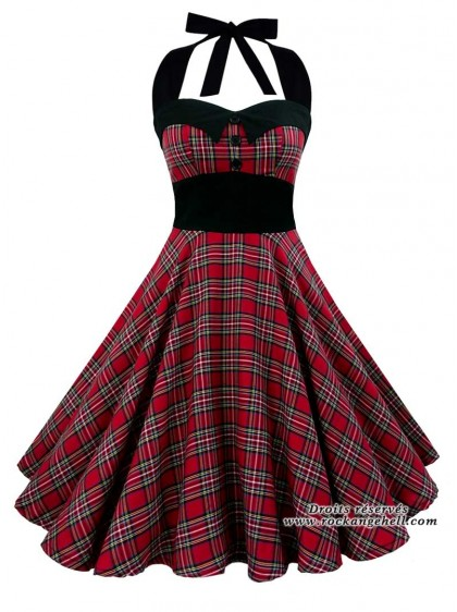 "Robe Rockabilly Rock Punk Rock Ange'Hell ""Ashley Red Tartan"" -  rockangehell.com"