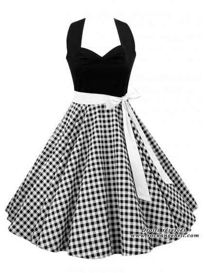 "Robe Pin-Up Rockabilly Retro Rock Ange'Hell ""Vivien Black Vichy"" - rockangehell.com"