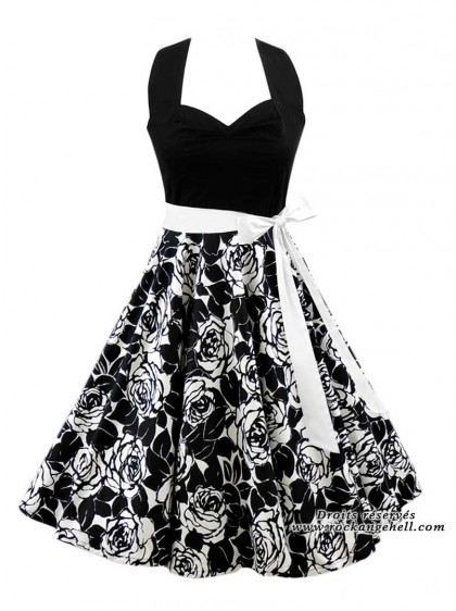 "Robe Pin-Up Retro Années 50 Rock Ange'Hell ""Vivien Black White Flowers"" - rockangehell.com"
