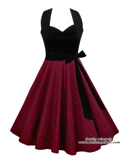 "Robe Pin-Up Vintage Rockabilly Rock Ange'Hell ""Vivien Black Red Vichy"" - rockangehell.com"