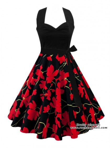 "Robe Années 50 Pin-Up Rockabilly Rock Ange'Hell ""Vivien Black Flowers""- rockangehell.com"