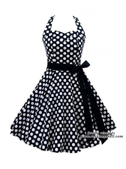 "Robe Pin-Up Rockabilly Rock Ange'Hell ""Sofia Big White Dots""- rockangehell.com"