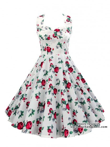 "Robe Rockabilly Pin-Up Années 50 Rock Ange'Hell ""Vivien Roses""- rockangehell.com"