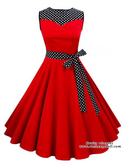 "Robe Rockabilly Pin-Up Années 50 Rock Ange'Hell ""Olivia Red"" - rockangehell.com"