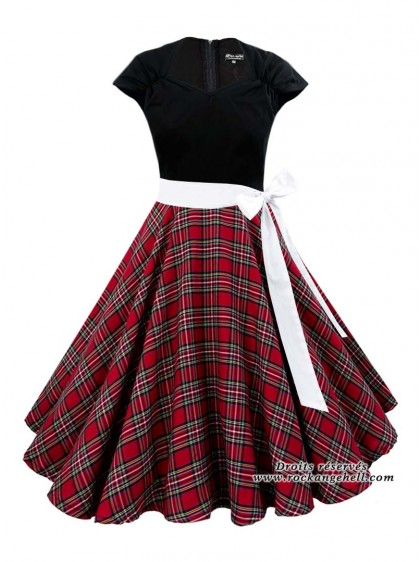 "Robe Rock Rockabilly Rock Ange'Hell ""Ellen Black Red Tartan"" - rockangehell.com"