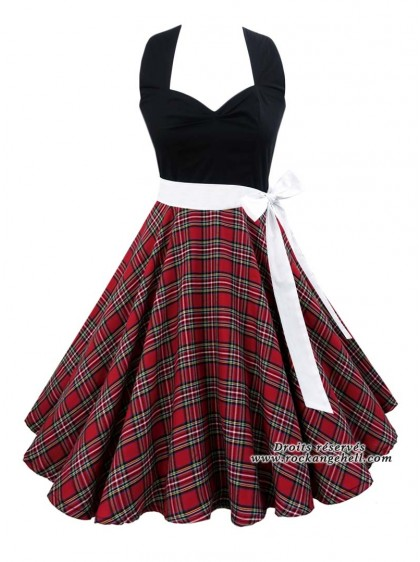"Robe Rock Pin-Up Rockabilly Rock Ange'Hell ""Vivien Red Tartan"" - rockangehell.com"
