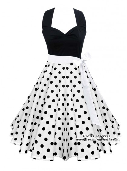 "Robe Retro Pin-Up Rockabilly Rock Ange'Hell ""Vivien Black White Dots""  - rockangehell.com"