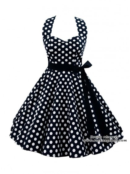 "Robe Rockabilly Pin-Up Années 50 Rock Ange'Hell ""Sofia Big White Dots""- rockangehell.com"