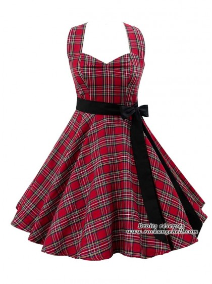 "Robe Rock Rockabilly Rock Ange'Hell ""Sofia Red Tartan""- rockangehell.com"