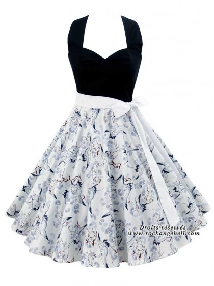 "Robe Rockabilly Années 50 Pin-Up Rock Ange'Hell ""Vivien Birds"" - rockangehell.com"
