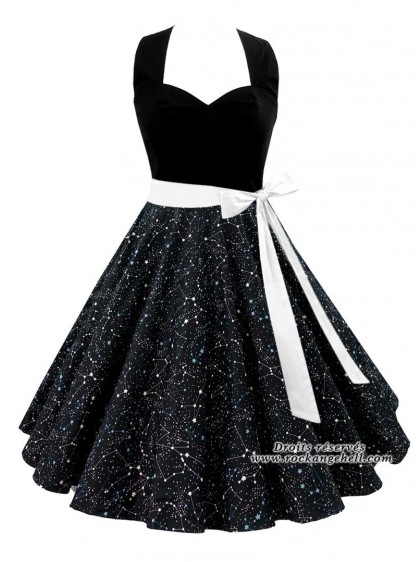 "Robe Pin-Up Rockabilly Retro Rock Ange'Hell ""Vivien Constellations"" - rockangehell.com"
