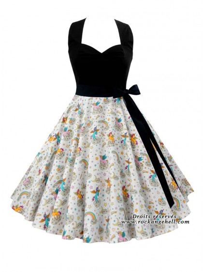 "Robe Lolita Kawaii Rockabilly Rock Ange'Hell ""Vivien Unicorns"" - rockangehell.com"