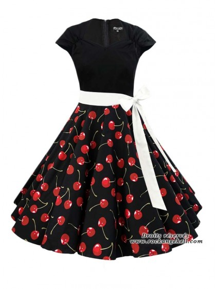 "Robe Rockabilly Retro Pin-Up Rock Ange'Hell ""Ellen Black Cherry"" - rockangehell.com"