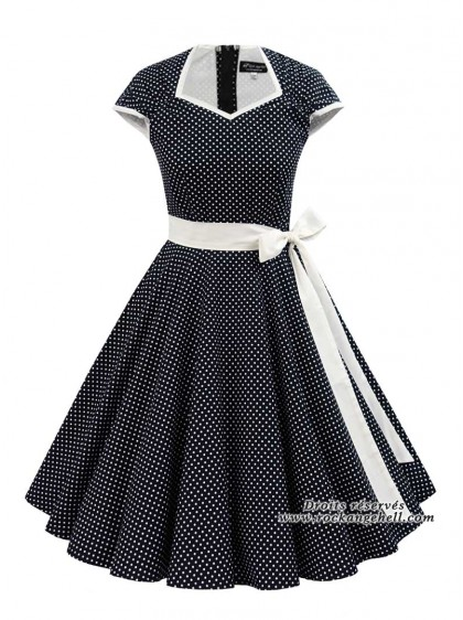"Robe Rockabilly Vintage Retro Rock Ange'Hell ""Cloé Black White Dots"" - rockangehell.com"