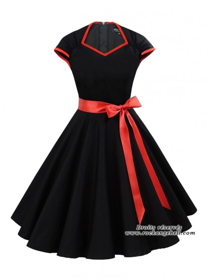 "Robe Rockabilly Pin-Up Années 50 Rock Ange'Hell ""Cloé Black Red"" - rockangehell.com"